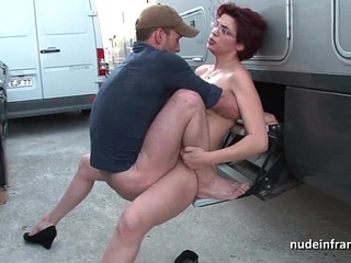 Amateur redhead hard anal fucked and fisted by the taxi driver outdoor
